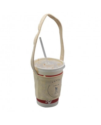 Canvas Coffee Cup Sleeve w/Handle