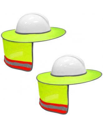 Hard Hat Sun Shield Full Brim Mesh Neck Sunshade with Reflective Strips