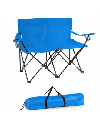 2 Person Double Folding Lawn Chair with Cup Holders