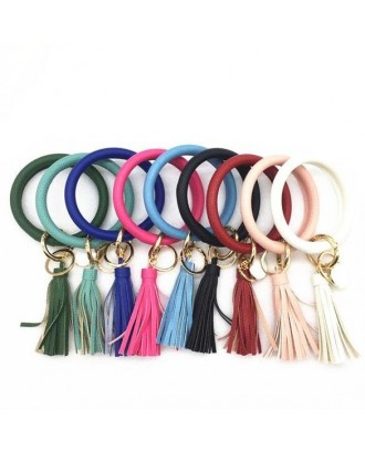 PU Tassels Keychian With Tag
