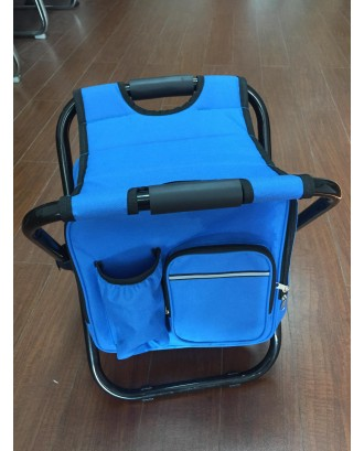 Collapsible Folding Camping Chair With Insulated Cooler Bag