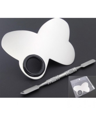 Stainless Steel Makeup Mixing Palette With Makeup Spatula